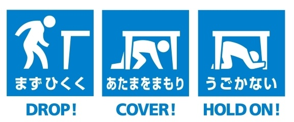 Earthquake Instructions - Drop - Cover - Roll